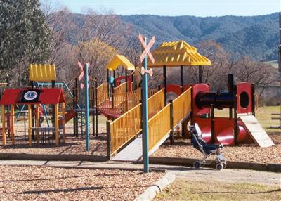 Community Built - Train Themed Playground in Mt Beauty