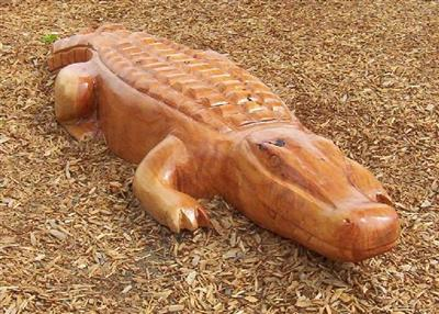 Wooden Crocodile Sculpture